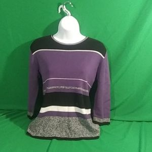 Style & Co S purple stripe sweater